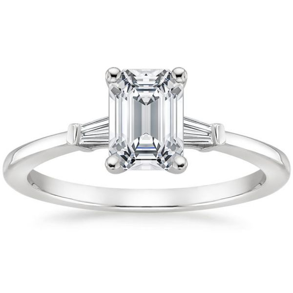 Moissanite Classic Three Stone Emerald With Tapered Baguette Cut Engagement Ring