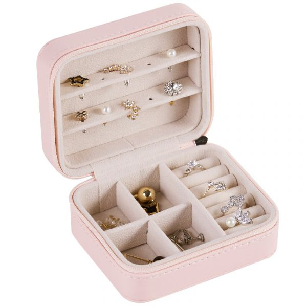 Multi Function Simple PU Leather Jewelry Box With Mirror