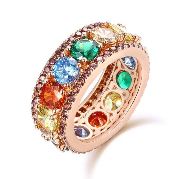 Sterling Silver Exquisite Multi Color Round Cut Chocolate Women's Eternity Wedding Band