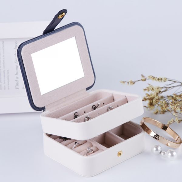 Multi Function Layer Design PU Leather Jewelry Box With Mirror