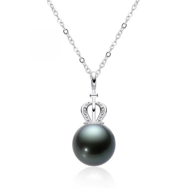 Sterling Silver Luxury Black Cultured Pearl Necklace