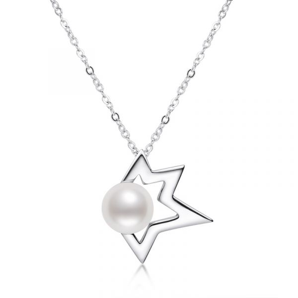 Sterling Silver Luxury Star Design White Pearl Necklace
