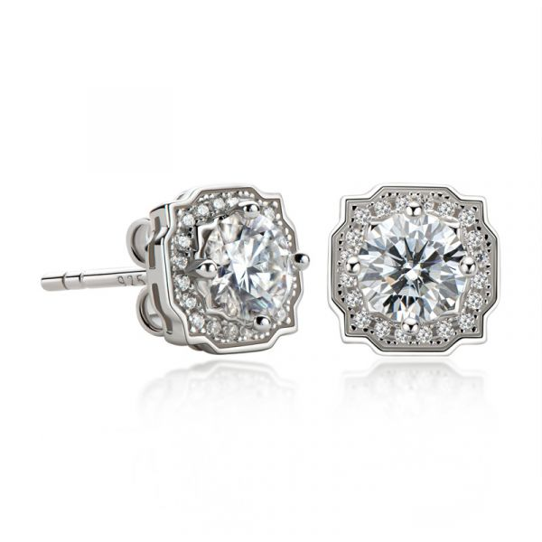 Sterling Silver Delicate Halo Round Cut Stud Earrings