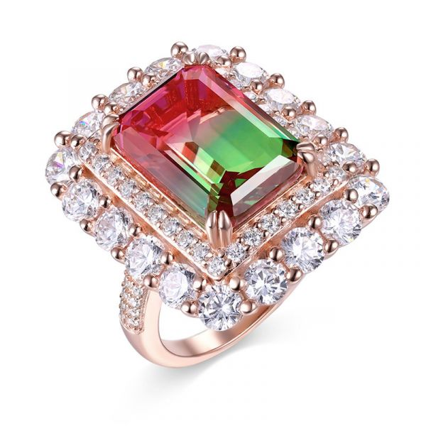 Sterling Silver Exquisite Double Halo Emerald With Round Cut Watermelon Engagement Ring