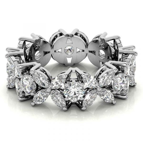 Sterling Silver Elegant Marquise With Round Cut Women's Eternity Wedding Band