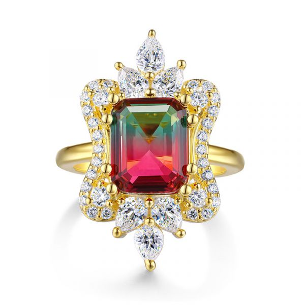 Sterling Silver Vintage Halo Design Emerald Cut Watermelon Engagement Ring
