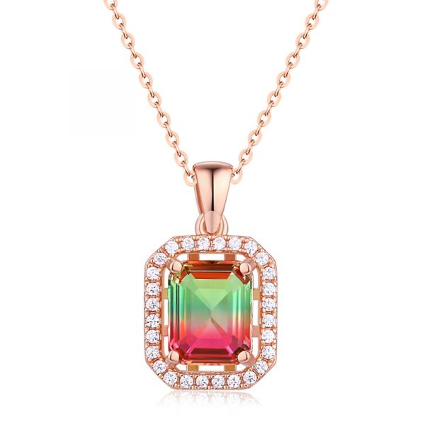 Sterling Silver Elegant Halo Design Emerald With Round Cut Watermelon Necklace