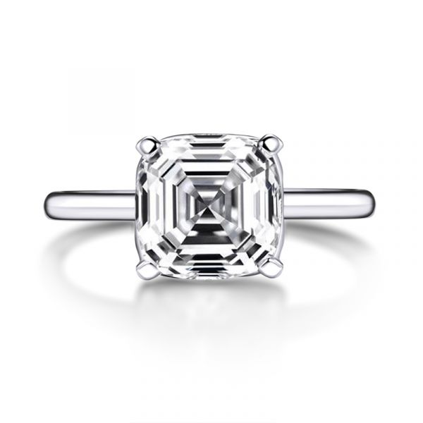 Sterling Silver Simple Asscher Cut Solitaire Engagement Ring