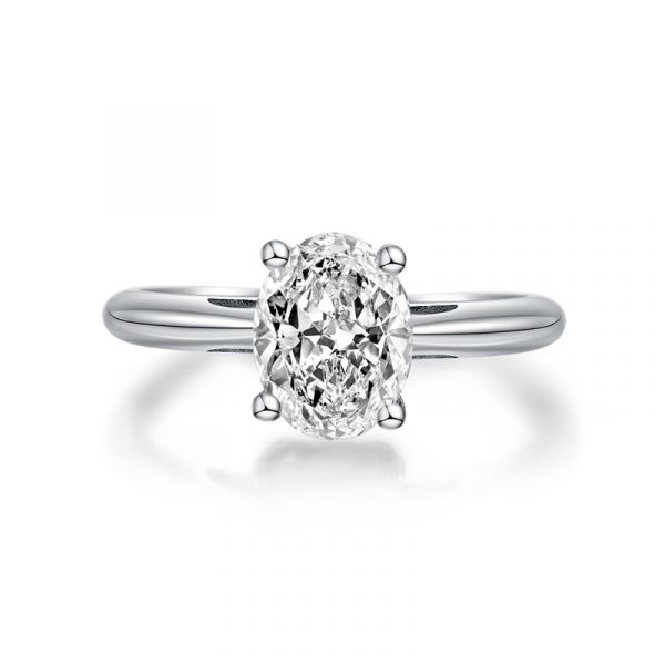 Sterling Silver Simple Oval Cut Solitaire Engagement Ring
