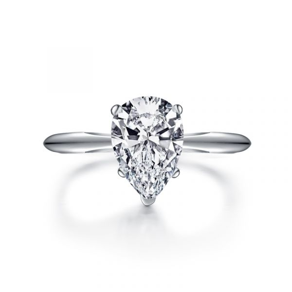 Sterling Silver Simple Pear Cut Solitaire Engagement Ring