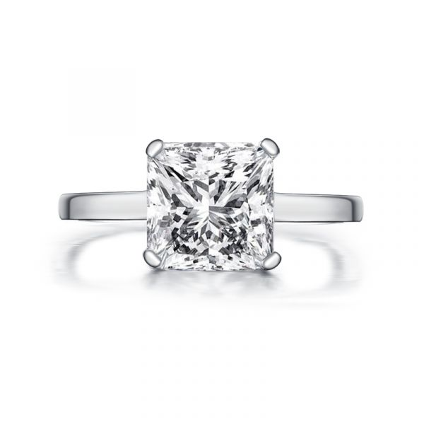 Sterling Silver Simple Princess Cut Solitaire Engagement Ring