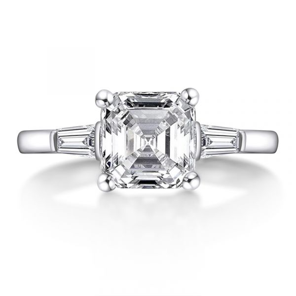 Sterling Silver Classic Three Stone Asscher Cut Engagement Ring