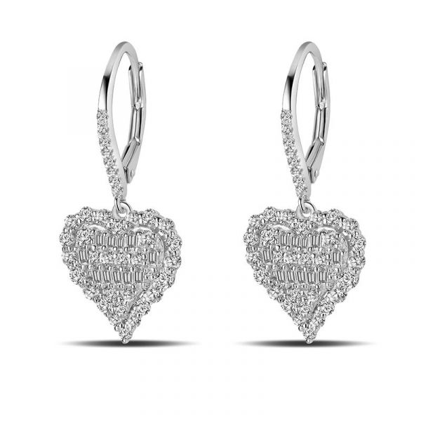 Sterling Silver Classic Halo Round With Baguette Cut Drop Earrings
