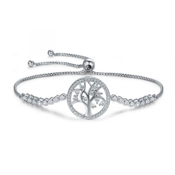 Sterling Silver Classic Family Tree Design Halo Round Cut Bracelet