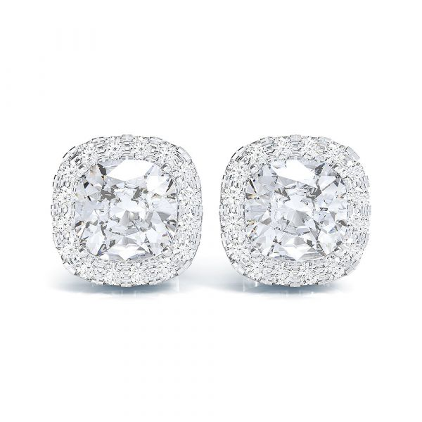 Sterling Silver Halo Cushion With Round Cut Stud Earrings