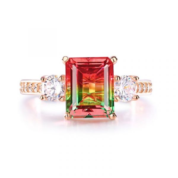 Sterling Silver Classic Three Stone Emerald With Round Cut Watermelon Engagement Ring