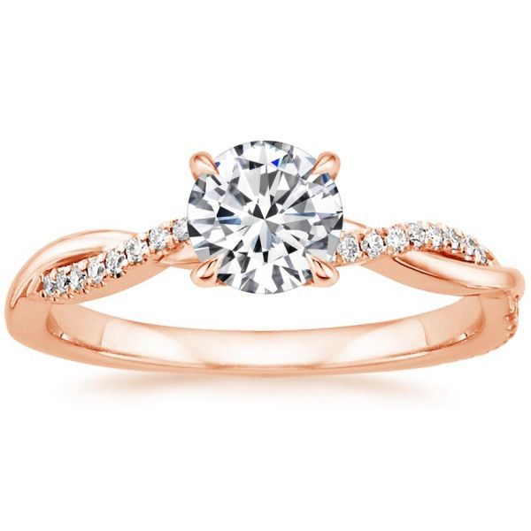 Moissanite Twisted Design Round Cut Engagement Ring
