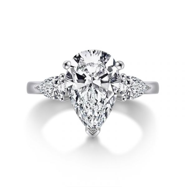 Sterling Silver Three Stone Pear Cut Engagement Ring