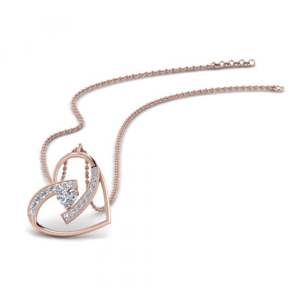 Sterling Silver Delicate Heart Shape Round With Heart Cut Necklace