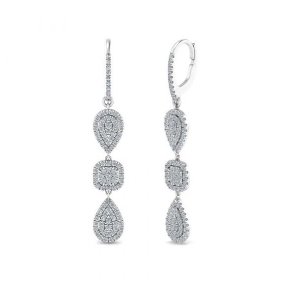 Sterling Silver Exquisite Halo Design Round Cut Drop Earrings