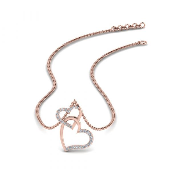 Sterling Silver Classic Heart Link Design Round Cut Necklace