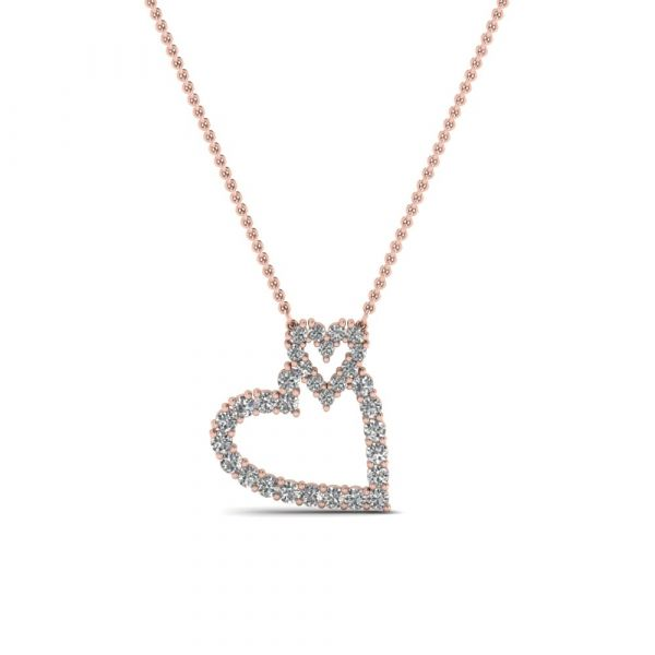 Sterling Silver Classic Double Heart Shape Design Round Cut Necklace