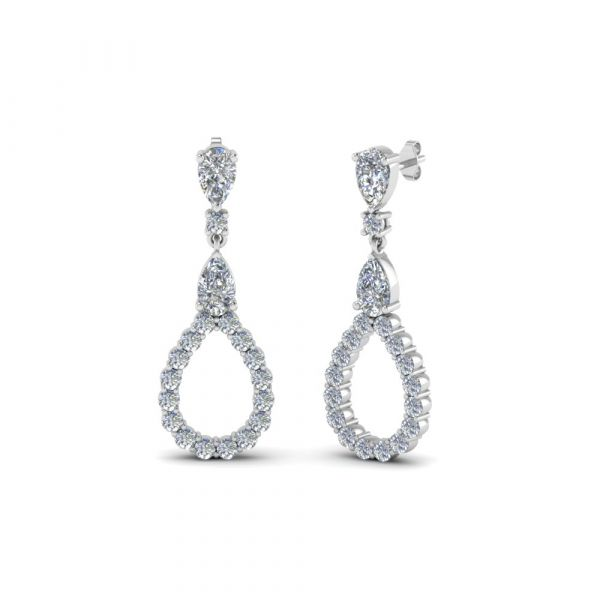 Sterling Silver Unique Pear Shape Round With Pear Cut Drop Earrings
