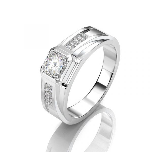 Sterling Silver Delicate  Round Cut Men's Wedding Ring