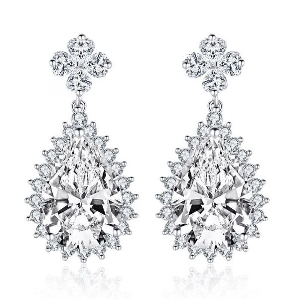 Sterling Silver Luxurious Halo Pear With Round Cut Drop Earrings