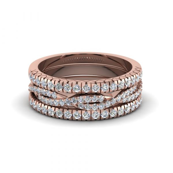 Sterling Silver Exquisite Twist Round Cut Stackable Band Set