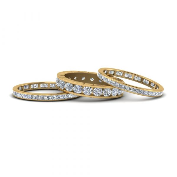 Sterling Silver Delicate Eternity Round Cut Stackable Band Set