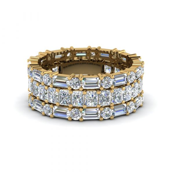 Sterling Silver Delicate Eternity Radiant Cut Stackable Band Set