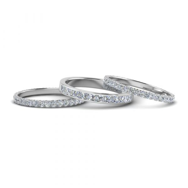 Sterling Silver Delicate Eternity Princess And Round Cut Stackable Band Set
