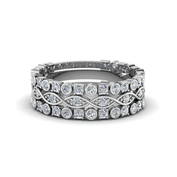 Sterling Silver Delicate Twist Eternity Round Cut Stackable Band Set