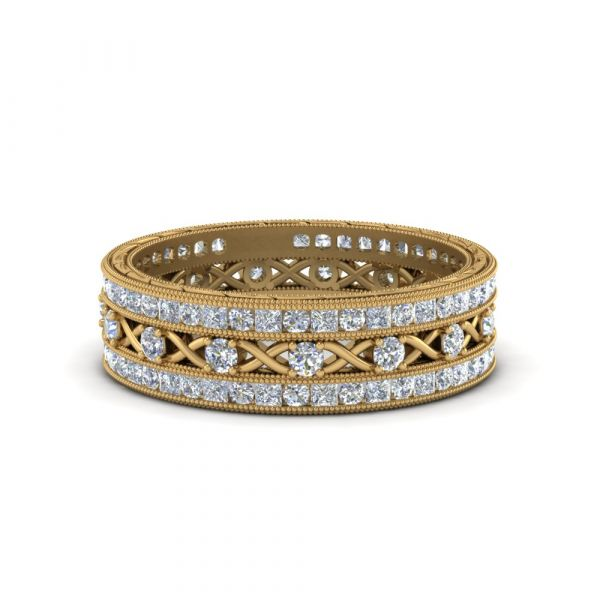 Sterling Silver Exquisite Eternity Milgrain Princess And Round Cut Stackable Band Set