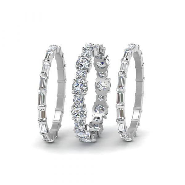 Sterling Silver Exquisite Baguette With Round Cut Stackable Band Set