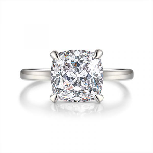 Sterling Silver Classic Cushion Cut Solitaire Engagement Ring