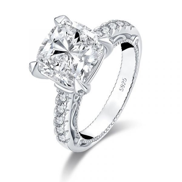 Sterling Silver Milgrain Vintage Halo Cushion With Round Cut Engagement Ring