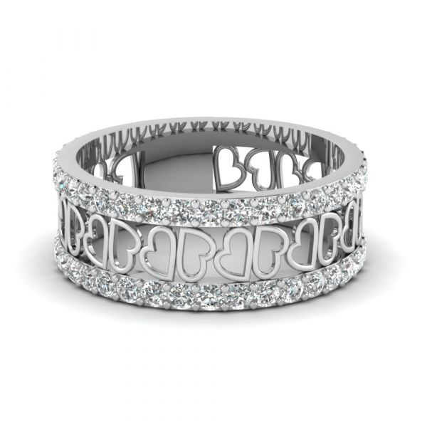 Sterling Silver Exquisite Heart Link Design Round Cut Women's Eternity Wedding Band