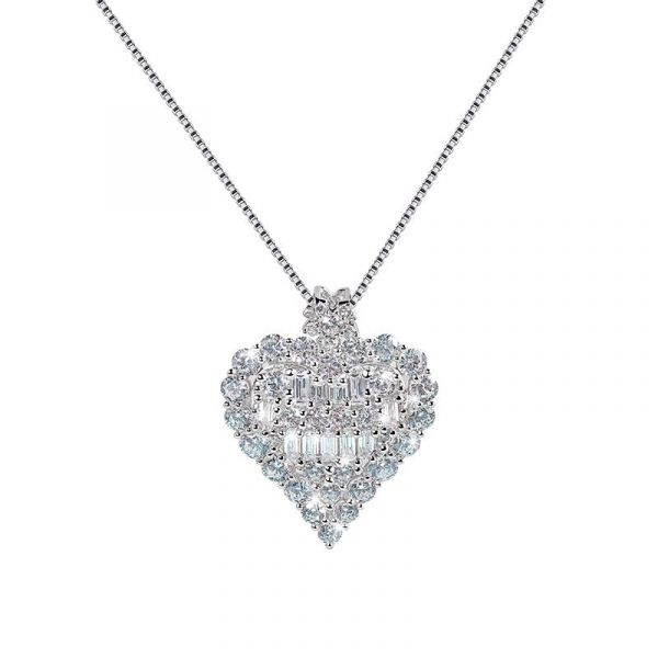 Sterling Silver Classic Heart Design Halo Round With Baguette Cut Necklace