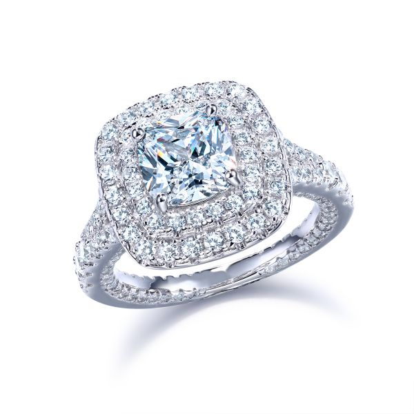 Sterling Silver Vintage Split Shank Double Halo Cushion Cut Engagement Ring