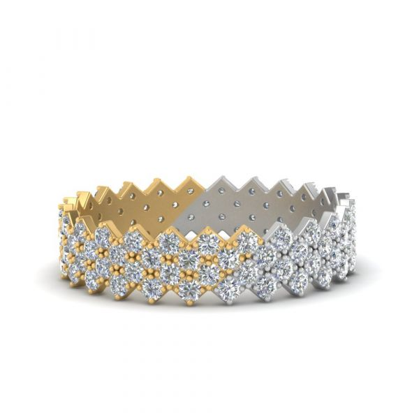 Sterling Silver Delicate Two Tone Design Round Cut Women's Eternity Wedding Band