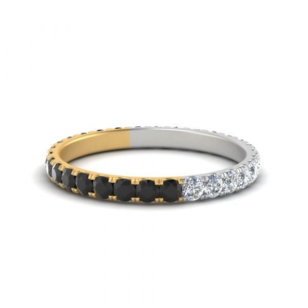 Sterling Silver Two Tone Design Round Cut Women's Eternity Wedding Band