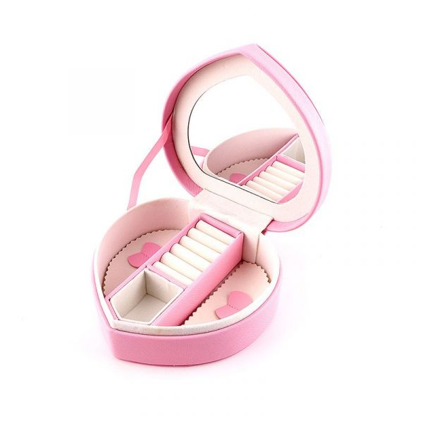 Multi Function Unique Heart Shape PU Leather Jewelry Box With Mirror