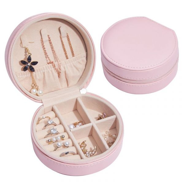 Multi Function Delicate Round Shape PU Leather Jewelry Box