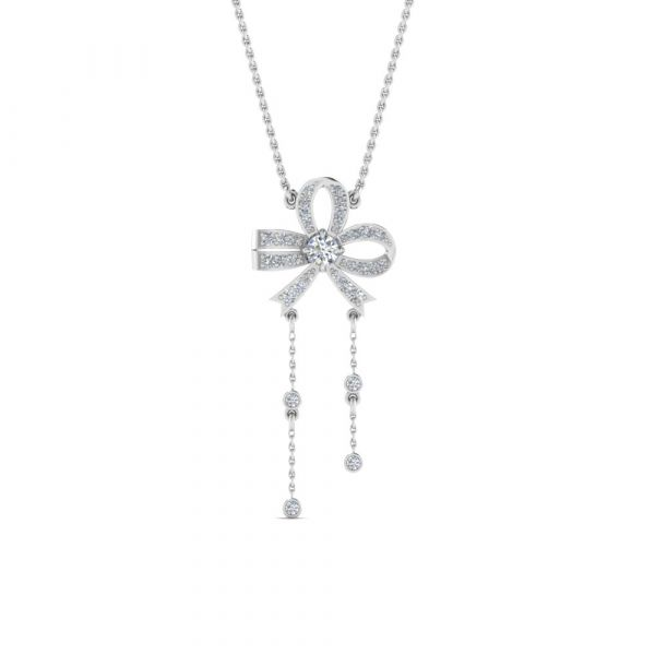 Sterling Silver Bowknot Hanging Design Round Cut Necklace