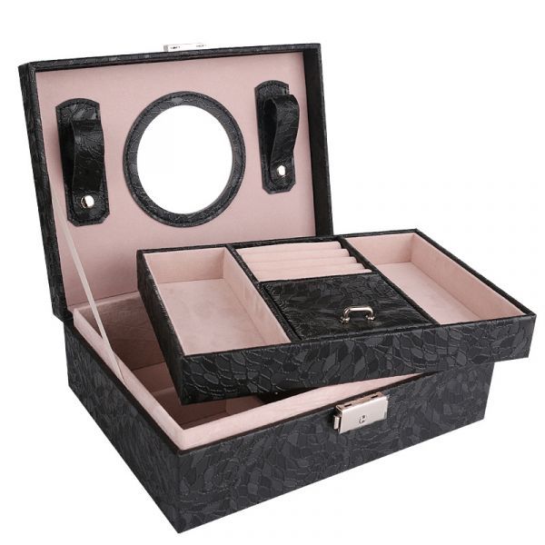 Multi Function Luxury PU Leather Jewelry Box With Round Shape Mirror
