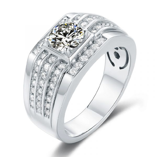 Sterling Silver Delicate Halo Design Round Cut Men's Wedding Ring