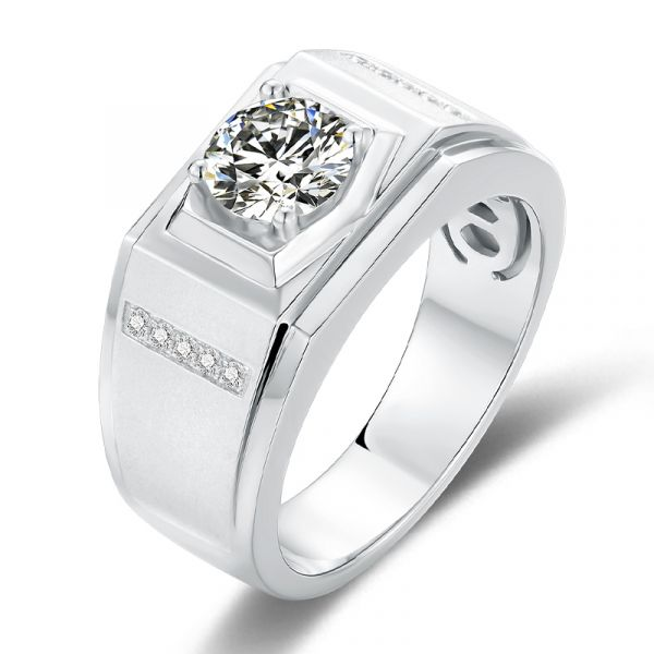 Sterling Silver Classic Round Cut Men's Wedding Ring