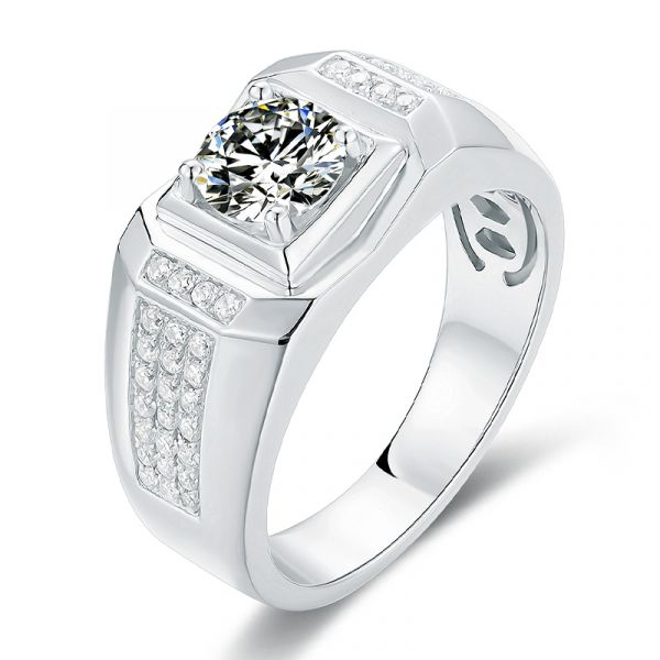 Sterling Silver Unique Round Cut Men's Wedding Ring